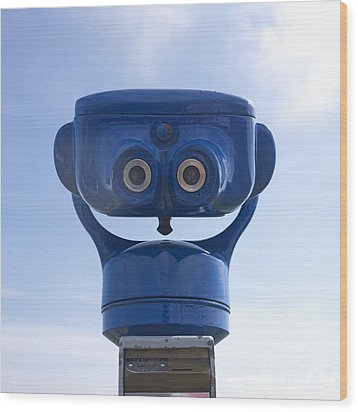 Blue Coin-operated Binoculars Wood Print by Bernard Jaubert