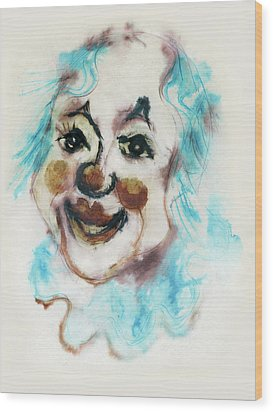 Blue Collar Clown Face With Red Nose And Lips Raised Eyebrows Smile   Wood Print by Rachel Hershkovitz