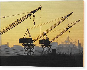 Wood Print featuring the photograph Blue Collar Sunset by Mike Flynn