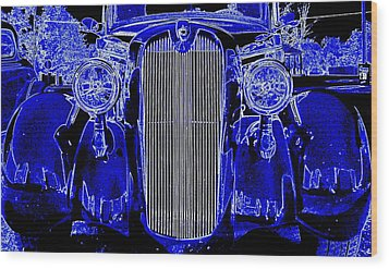 Blue Coupe Wood Print by J R Seymour