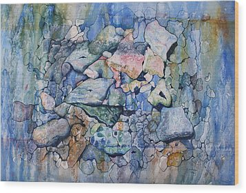 Blue Creek Stones Wood Print