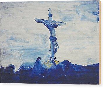 Blue Cross Wood Print by Carl Lundgren