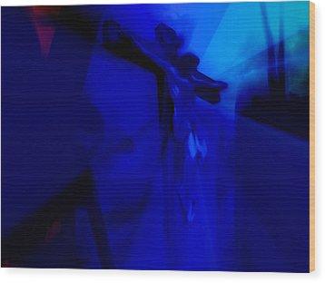 Blue Crucifixion Wood Print