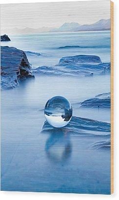 Blue Crystal Wood Print