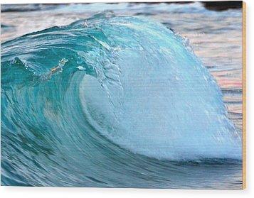 Blue Curl Wood Print