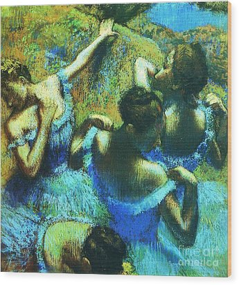 Blue Dancers Wood Print by Pg Reproductions