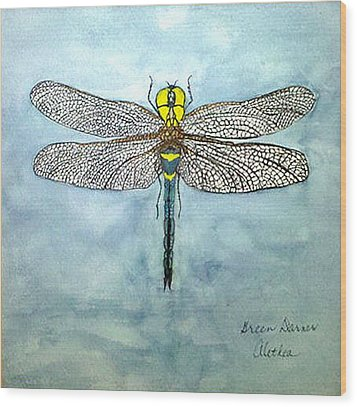 Wood Print featuring the painting Blue Darner by Alethea McKee