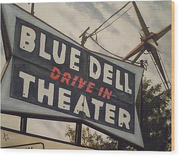 Wood Print featuring the painting Blue Dell Drive In Theater by James Guentner