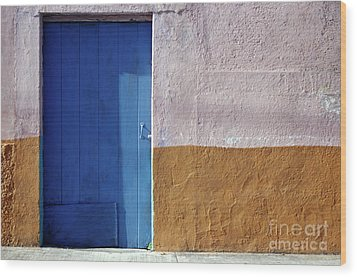 Wood Print featuring the photograph Blue Door Cozumel Mexico by John  Mitchell