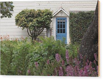 Blue Door Wood Print by Denice Breaux