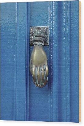 Blue Door With Brass Hand Knocker, France Wood Print by Jennifer Steen Booher