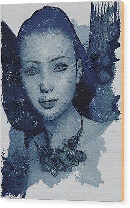 Blue Fae Wood Print by Maynard Ellis