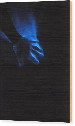 Blue Fire Wood Print
