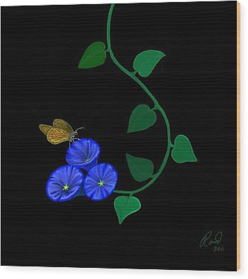 Blue Flower Butterfly Wood Print by Rand Herron