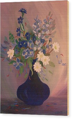 Wood Print featuring the painting Blue Flowers 2 by Christy Saunders Church