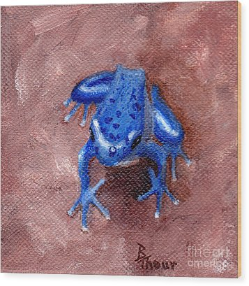 Blue Froggy Wood Print