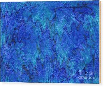 Blue Glass - Abstract Art Wood Print by Carol Groenen