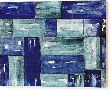 Blue Green Blue Wood Print by Marsha Heiken