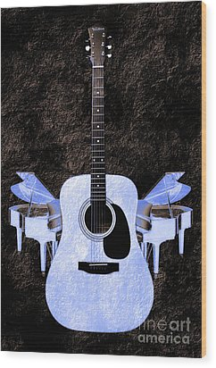 Blue Guitar Butterfly Wood Print by Andee Design