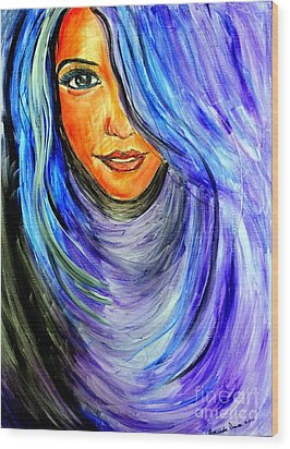 Wood Print featuring the painting Blue Hair by Amanda Dinan