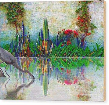 Blue Heron In My Mexican Garden Wood Print
