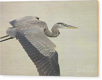 Blue Heron On Canvas Wood Print by Deborah Benoit