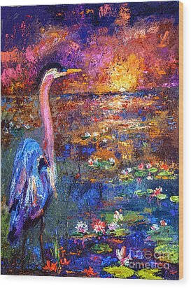 Blue Heron Sunset Wood Print by Ginette Callaway