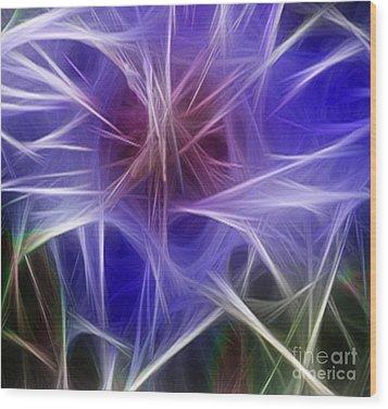 Blue Hibiscus Fractal Panel 2 Wood Print by Peter Piatt