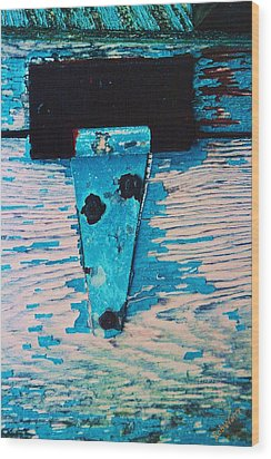 Wood Print featuring the photograph Blue Hinge by Bob Whitt