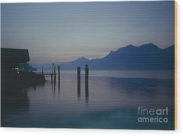 Blue Hour At Dawn On Lago Maggiore Wood Print by Heiko Koehrer-Wagner