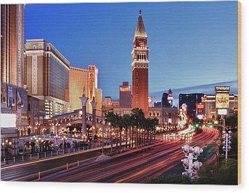 Blue Hour In Las Vegas Wood Print by Bert Kaufmann Photography