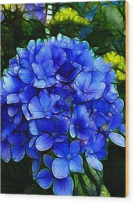 Blue Hydrangea Abstract Wood Print by Cindy Wright
