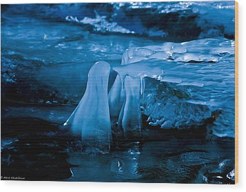 Blue Ice Wood Print by Mitch Shindelbower