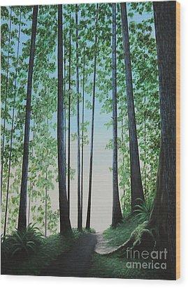Blue In Green Wood Print by Dan Lockaby