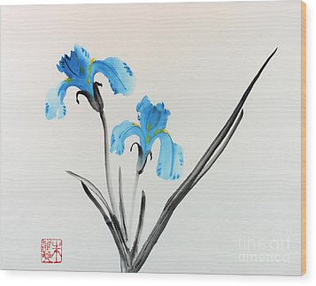 Wood Print featuring the painting Blue Iris I by Yolanda Koh