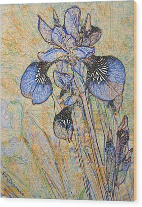 Wood Print featuring the painting Blue Iris  by Richard James Digance