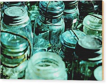 Blue Jars I Wood Print by Laurianna Murray