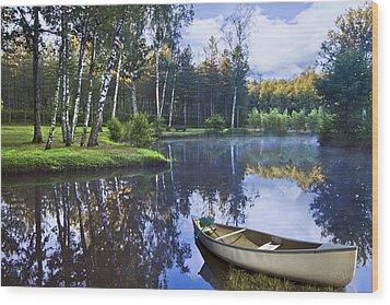 Blue Lake Wood Print by Debra and Dave Vanderlaan