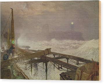 Blue Lights - Teignemouth Pier Wood Print by Alfred William Hunt