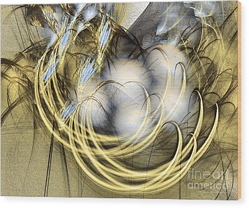 Blue Lullaby - Fractal Art Wood Print by Sipo Liimatainen