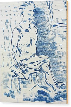 Wood Print featuring the pastel Blue Man By Window by Brian Sereda