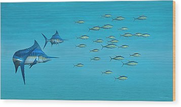 Wood Print featuring the digital art Blue Marlin And Yellowfin Tuna by Walter Colvin