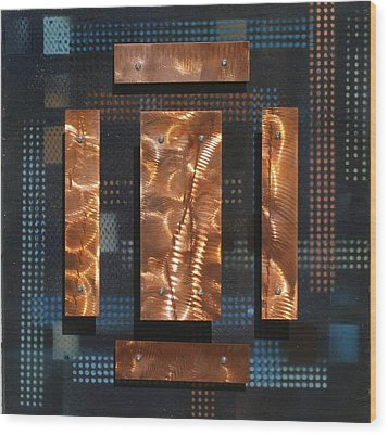 Blue Metal 4 Wood Print by James Johnson