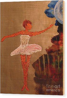 Blue Moon Balerina Wood Print by Ayasha Loya