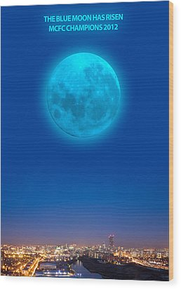Blue Moon Wood Print by Dandy Peacewell