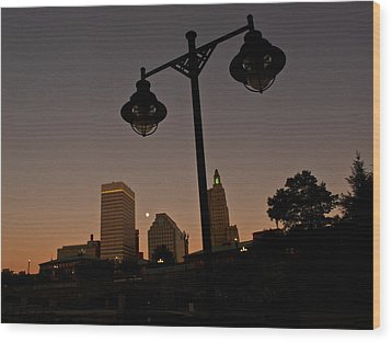 Wood Print featuring the photograph Blue Moon Over Downtown Providence 1 by Nancy De Flon