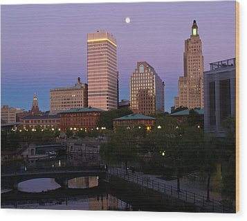 Wood Print featuring the photograph Blue Moon Over Downtown Providence 2 by Nancy De Flon