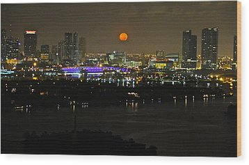 Blue Moon Over Miami Wood Print by Ronald  Bell