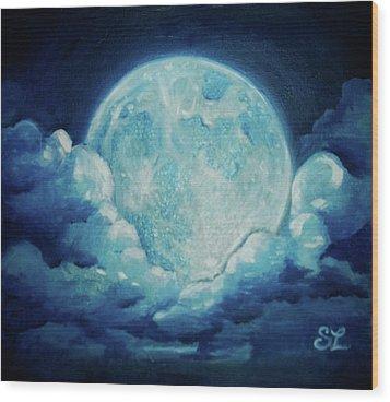 Blue Moon Wood Print by Sarah Lonthier