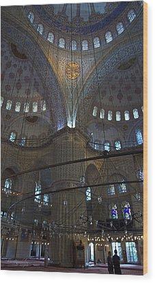 Blue Mosque Interior Wood Print by Cheri Randolph